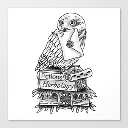 Hedwig On Books Canvas Print