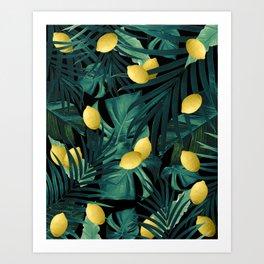 Tropical Lemon Twist Jungle Night #1 #tropical #decor #art #society6 Art Print