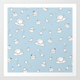 'Afternoon Tea' Simple Pattern Art Print