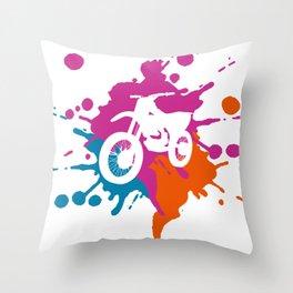 Mountain-Biking  Colorful Splash Throw Pillow