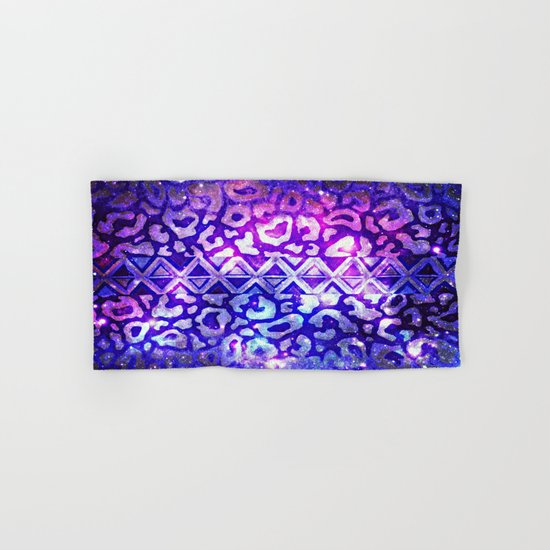 TRIBAL LEOPARD GALAXY Animal Print Aztec Native Pattern Geometric Purple Blue Ombre Space Galactic Hand & Bath Towel