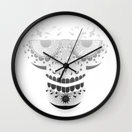 Sugar Skull - Day of the dead bw Wall Clock