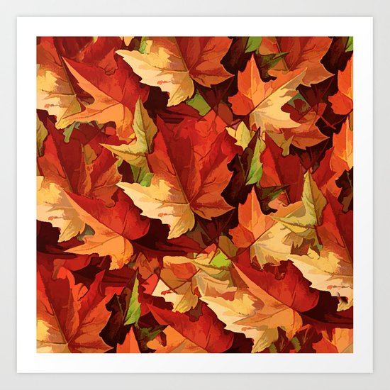 Autumn Leaves Abstract - Painterly Art Print