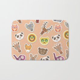 Set of funny animals muzzle seamless pattern. pink peach background. Vector Bath Mat