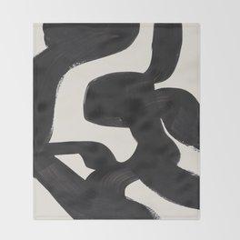 Mid Century Modern Minimalist Abstract Art Brush Strokes Black & White Ink Art Maze Throw Blanket