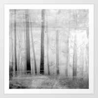 Forest Voices Black & White Art Print
