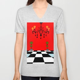 A Chandler with Topiary with Red wall paper Unisex V-Neck