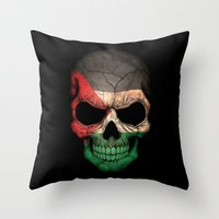 palestine Throw Pillows featuring Dark Skull with Flag of Palestine by Jeff Bartels
