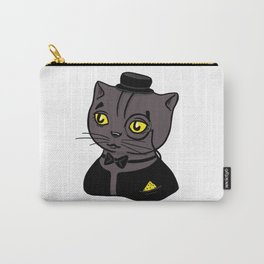 Fancy Chubby Black - Gray Cat, wearing a bow, a monocle and tuxedo Carry-All Pouch