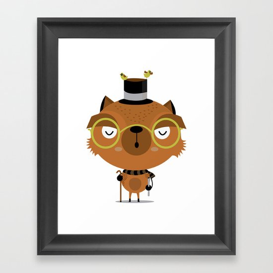 Cat with hat Framed Art Print