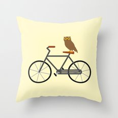 Owl Riding Bike Throw Pillow