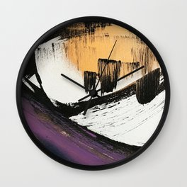 Axis [2]: a bold, minimal abstract in gold, purple, blue, black and white Wall Clock