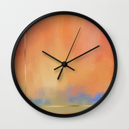 Abstract Landscape With Golden Lines Painting Wall Clock