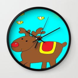 Happy Reindeer On A Sunny Day Wall Clock
