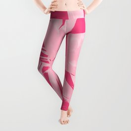 Chill Pink Tropical Banana Leaves Design Leggings