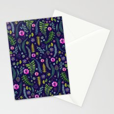 Ferns and Flowers Blue Stationery Cards