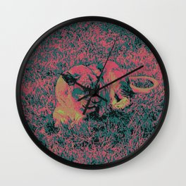 Lion in the wilderness artwork  Wall Clock