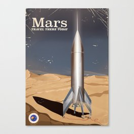 Mars - Travel there today vintage poster Canvas Print