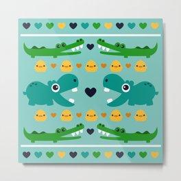 Hippos, Alligators and Ducks Metal Print