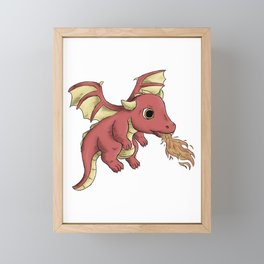 Playful Red Baby Dragon Framed Mini Art Print