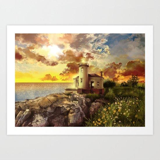 lighthouse landscape sky Art Print