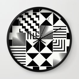 Mosaic Black And White Pattern Wall Clock