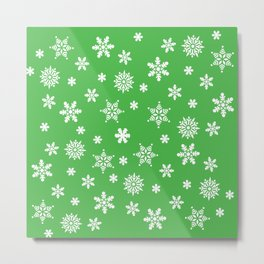 Snow Flurries-Christmassy Green Metal Print
