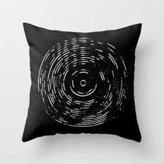 Record White on Black Throw Pillow