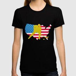 4th of July Hockey US American Flag T-shirt