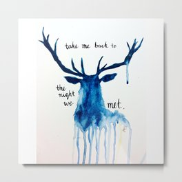 "Watercolour Deer Lord Huron lyrics ""take me back to the night we met"" Metal Print"
