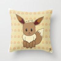 eevee Throw Pillows featuring Eevelution - Eevee by UncannyViolet