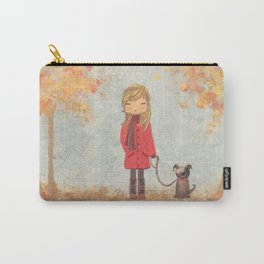 Little girl with dog in autumn landscape Carry-All Pouch
