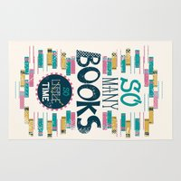 risa rodil Area & Throw Rugs featuring So Many Books, So Little Time by Risa Rodil