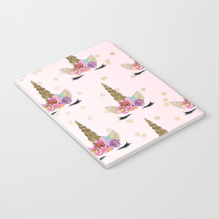 Floral Trendy Modern Unicorn Horn Gold Confetti Notebook by ... 4156a44779b1e