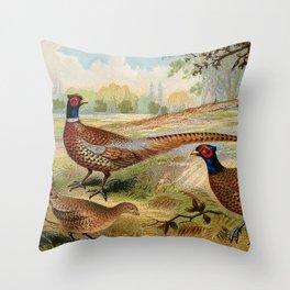 Vintage Pheasants Throw Pillow