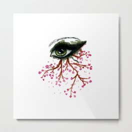 Sketch of an Eye with sakura Metal Print