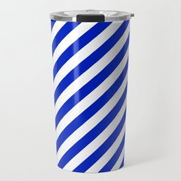 Cobalt Blue and White Wide Candy Cane Stripe Travel Mug