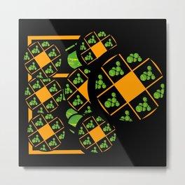 Orange and Green Spaces 100 Metal Print