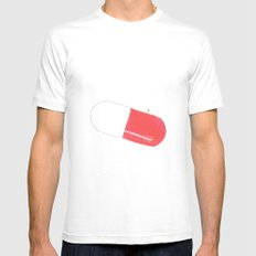 a pill MEDIUM White Mens Fitted Tee