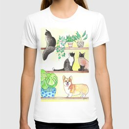 Cats, Corgi, Plants on Shelves T-shirt