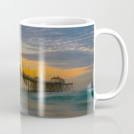 Long Exposure Sunrise at Huntington Pier Coffee Mug