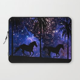Galloping horses under starry sky Laptop Sleeve