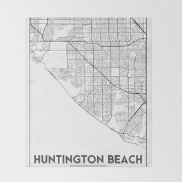 Minimal City Maps - Map Of Huntington Beach, California, United States Throw Blanket