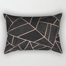 Velvet Black & Rose Gold Rectangular Pillow