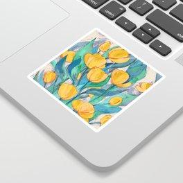 Blooming Golden Tulips in Gouache Sticker