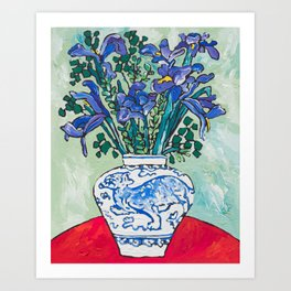 Iris Bouquet in Blue and White Asian Tiger Jar on Green and Coral Art Print