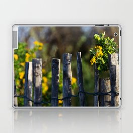Yellow flower and wood fence Laptop & iPad Skin