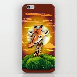 Giraffe on Wild African Savanna Sunset iPhone Skin