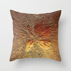 Rust glitter leaves in fall Throw Pillow