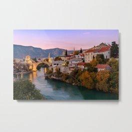 Mostar at sunset, Bosnia & Herzegovina Metal Print